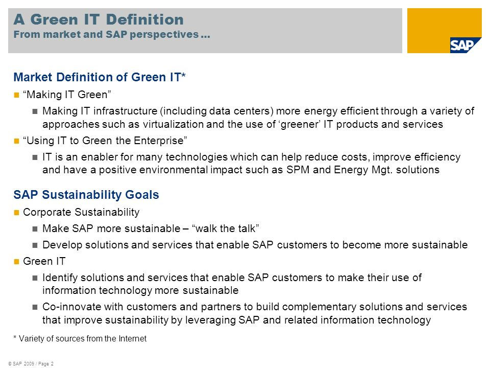 A Green IT Definition From market and SAP perspectives …