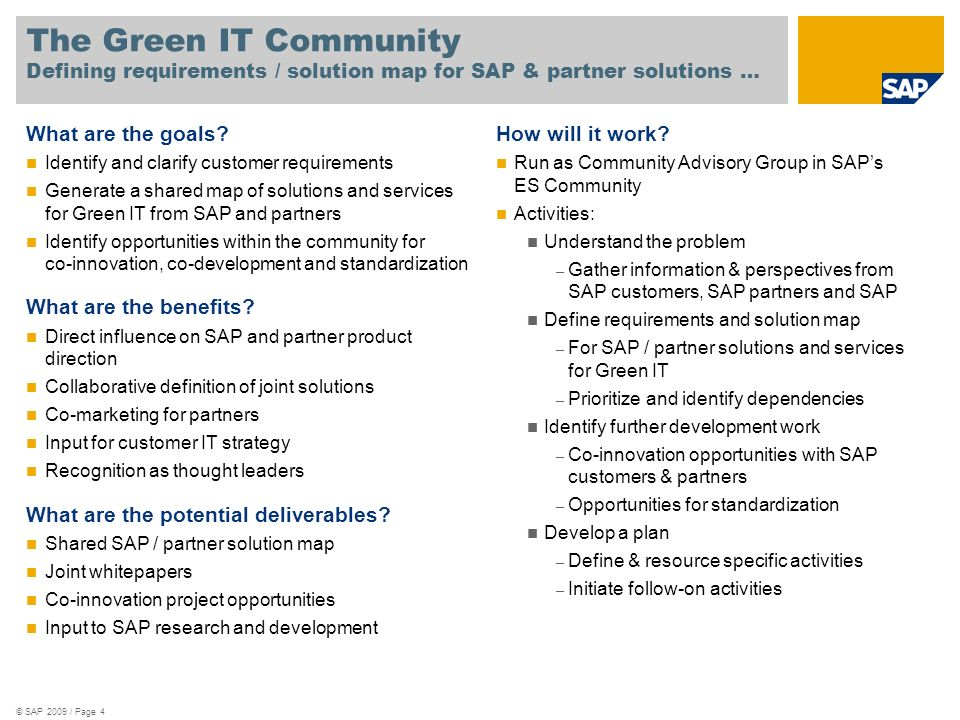 The Green IT Community Defining requirements / solution map for SAP & partner solutions …