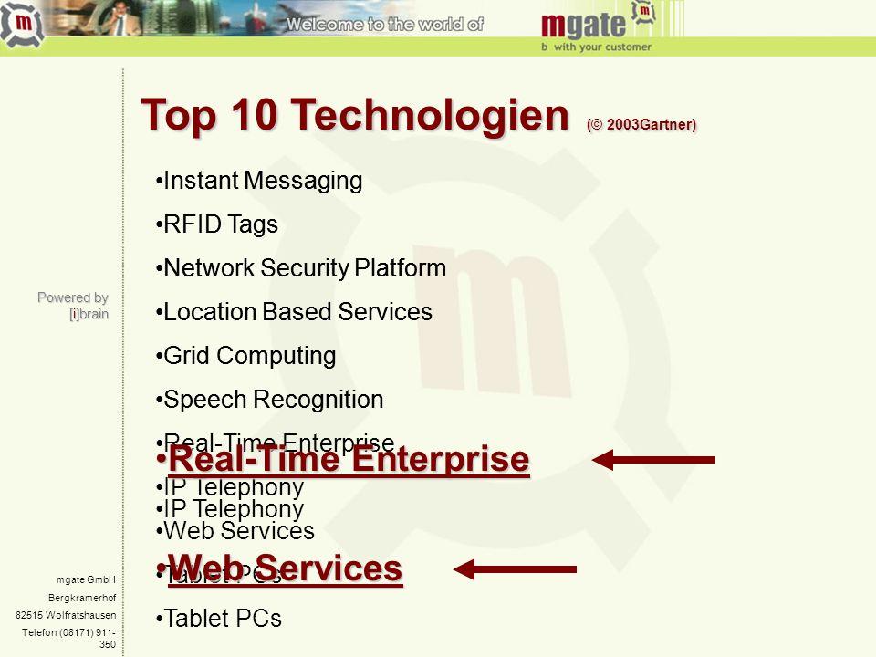Top 10 Technologien (© 2003Gartner)