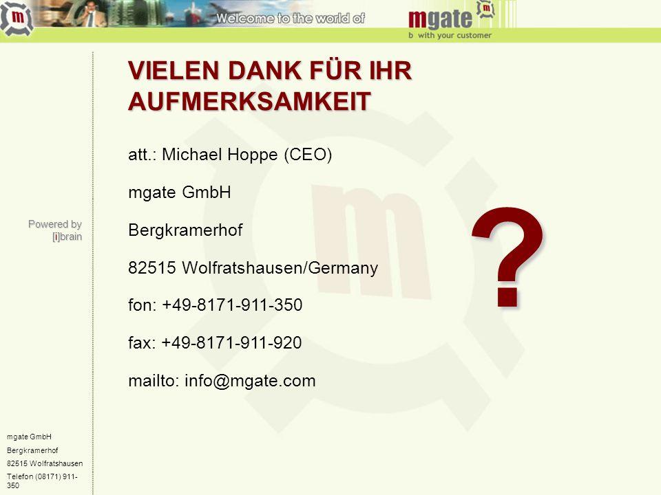 VIELEN DANK FÜR IHR AUFMERKSAMKEIT att.: Michael Hoppe (CEO)