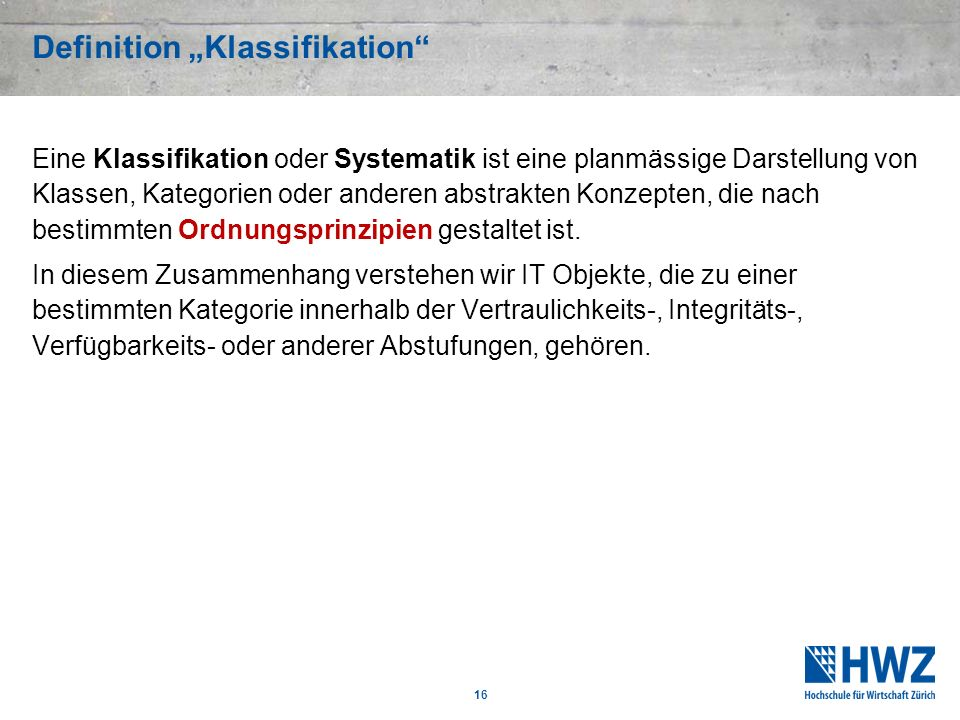 "Definition ""Klassifikation"