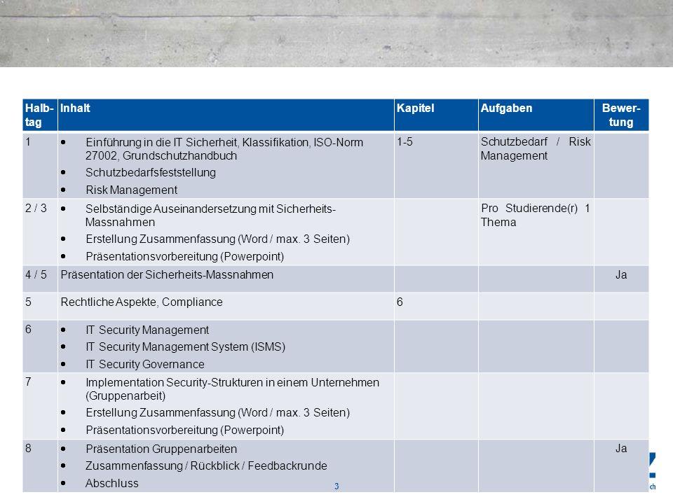 Halb- tagInhalt. Kapitel. Aufgaben. Bewer- tung. 1. Einführung in die IT Sicherheit, Klassifikation, ISO-Norm 27002, Grundschutzhandbuch.