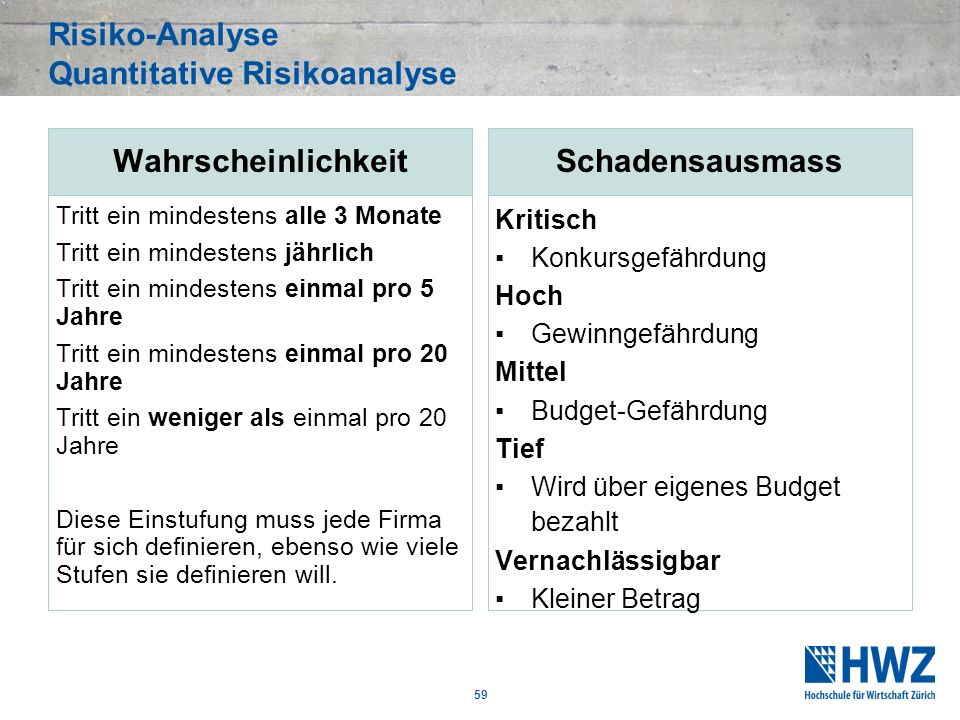 Risiko-Analyse Quantitative Risikoanalyse
