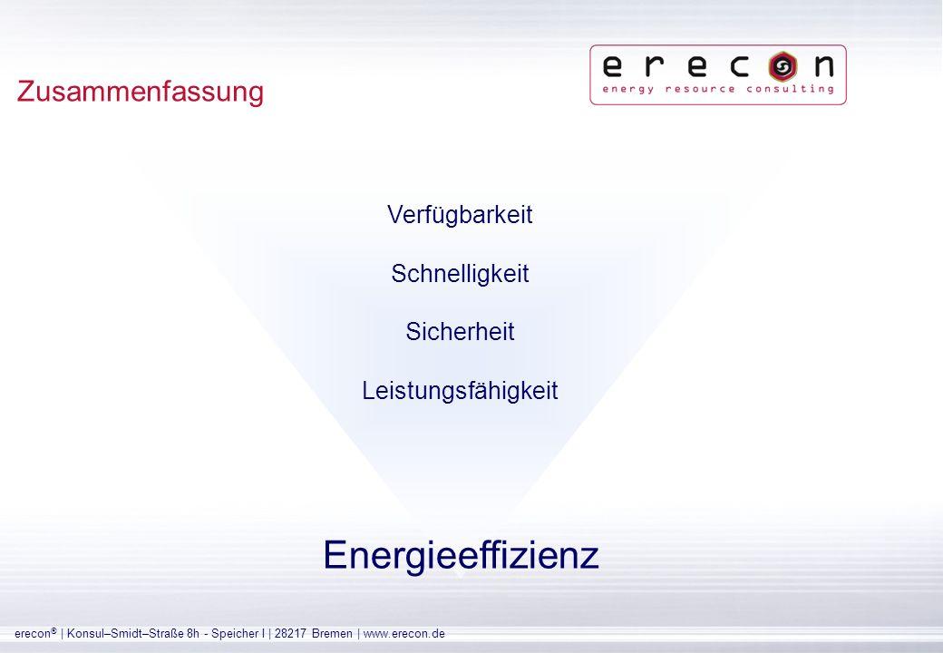 Energieeffizienz Zusammenfassung Verfügbarkeit Schnelligkeit