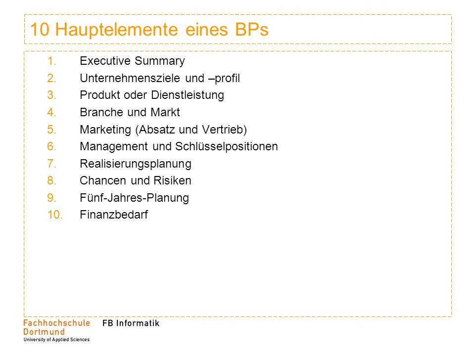 10 Hauptelemente eines BPs