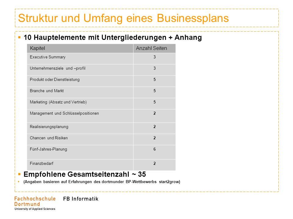 Struktur und Umfang eines Businessplans