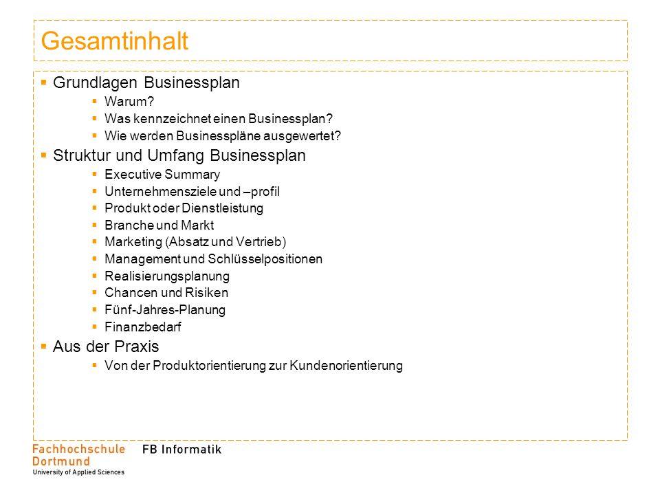 Gesamtinhalt Grundlagen Businessplan Struktur und Umfang Businessplan