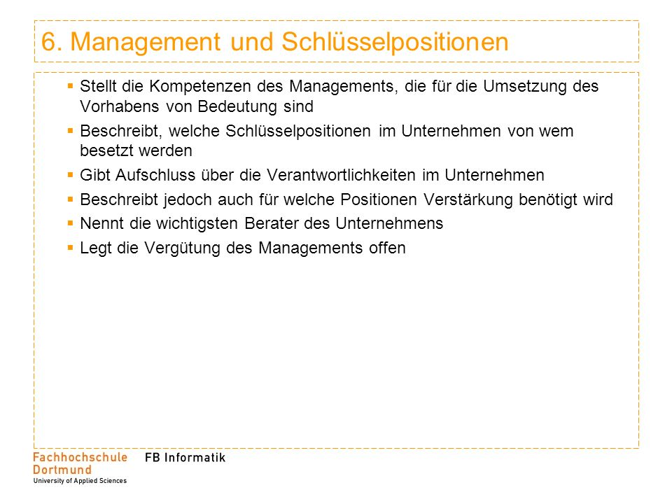 6. Management und Schlüsselpositionen
