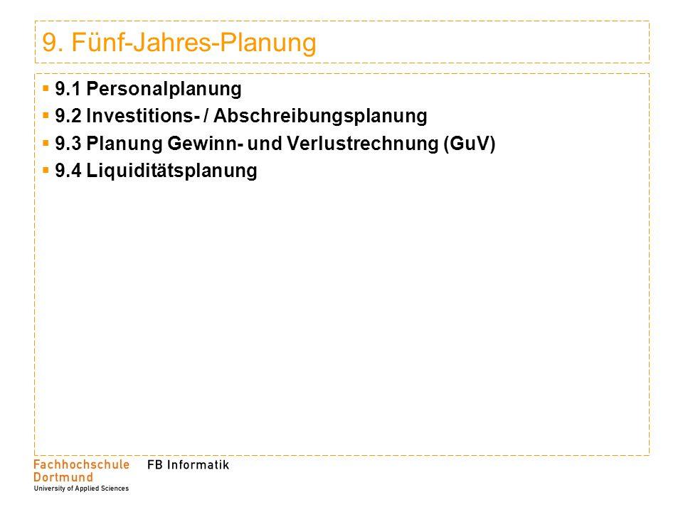 9. Fünf-Jahres-Planung 9.1 Personalplanung