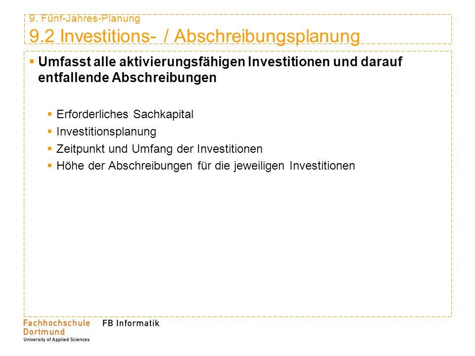 9. Fünf-Jahres-Planung 9.2 Investitions- / Abschreibungsplanung