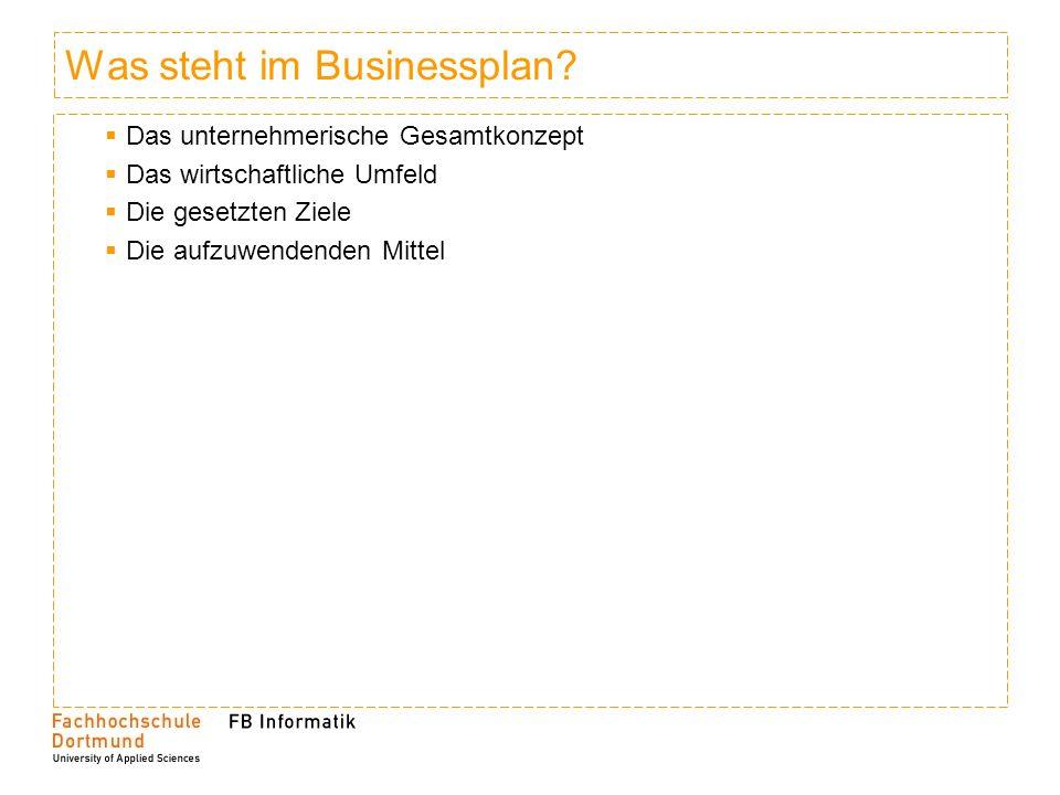 Was steht im Businessplan