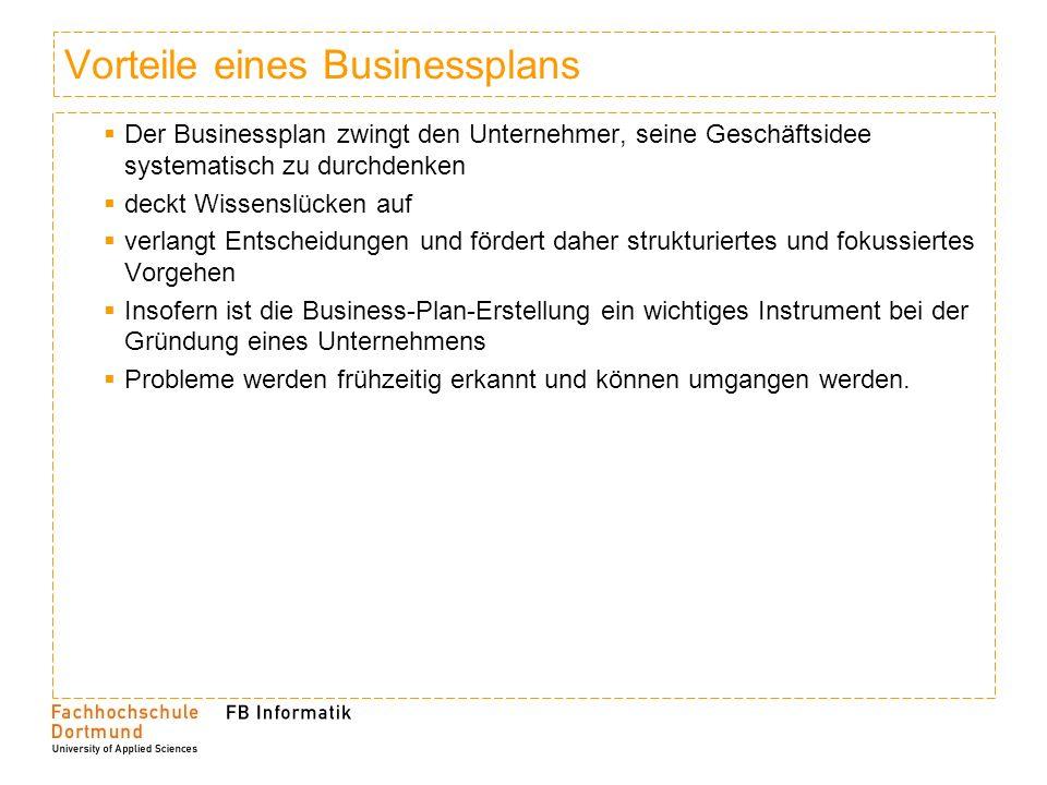 Vorteile eines Businessplans
