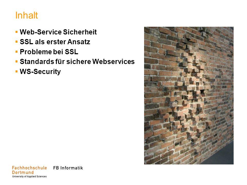 Inhalt Web-Service Sicherheit SSL als erster Ansatz Probleme bei SSL