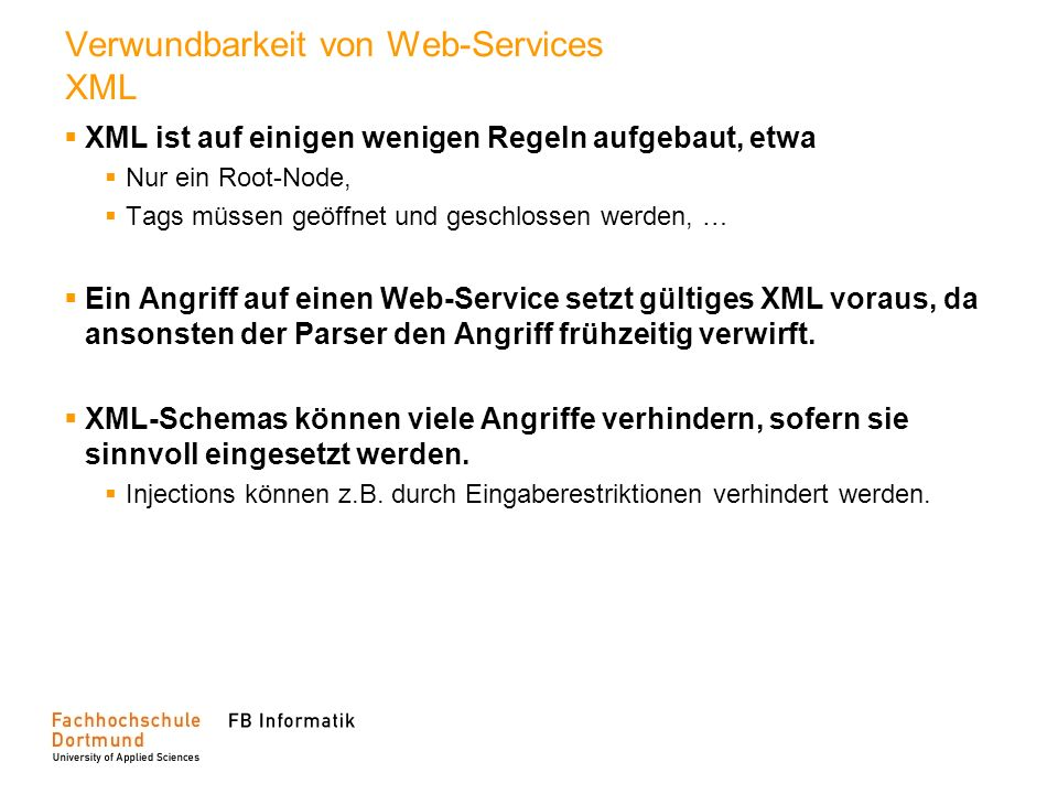 Verwundbarkeit von Web-Services XML