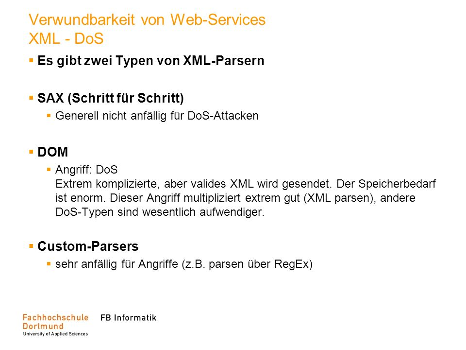 Verwundbarkeit von Web-Services XML - DoS