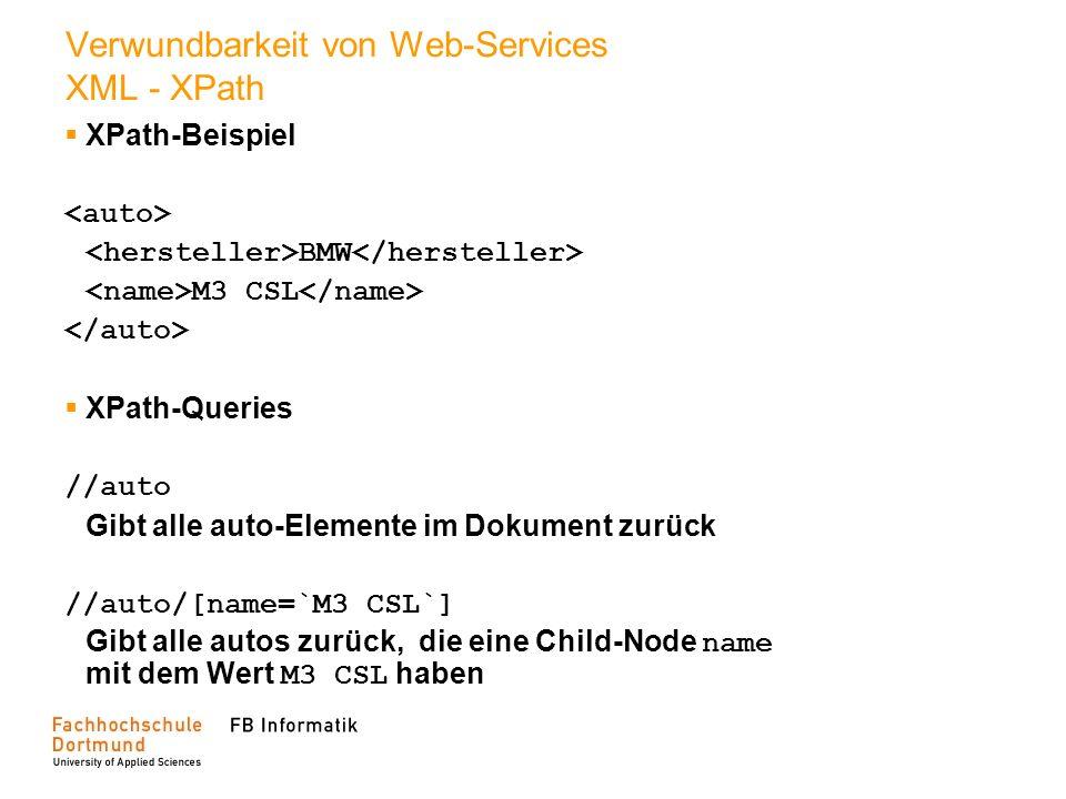 Verwundbarkeit von Web-Services XML - XPath