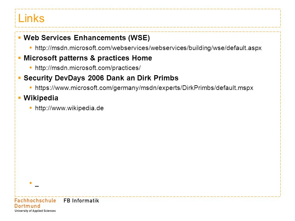 Links Web Services Enhancements (WSE)