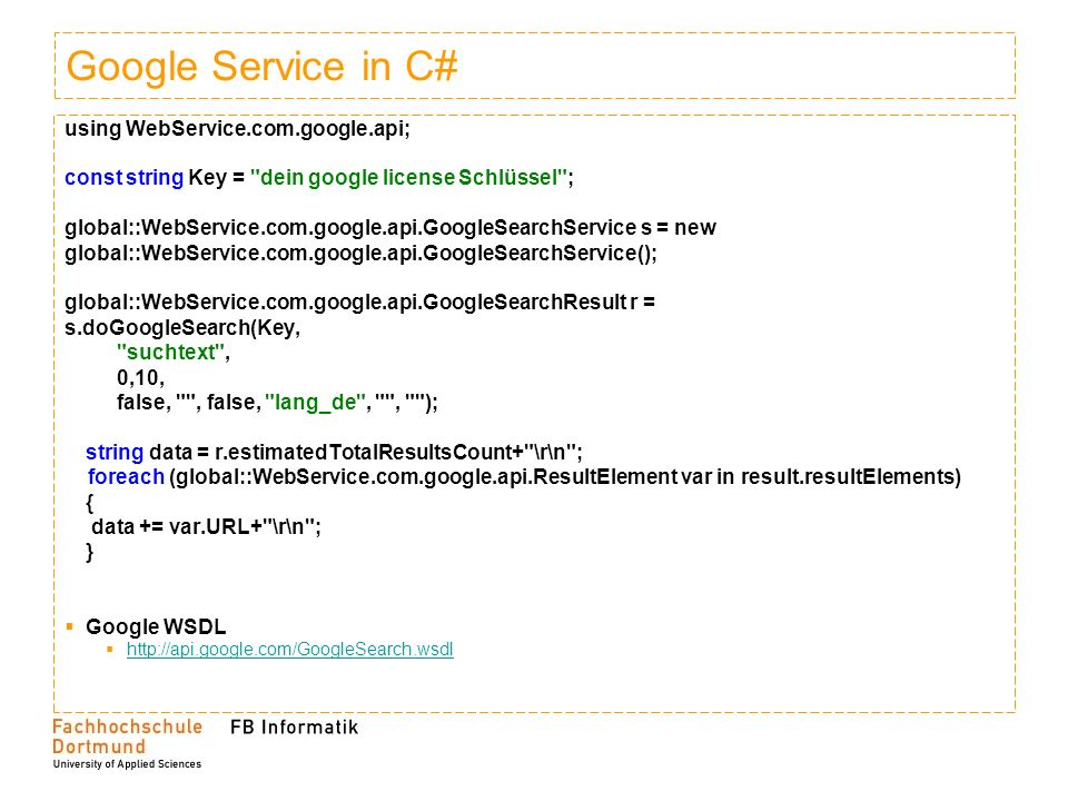 Google Service in C# using WebService.com.google.api;