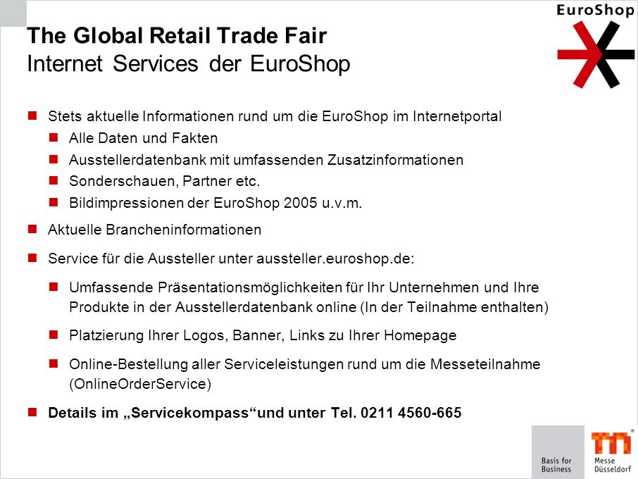 The Global Retail Trade Fair Internet Services der EuroShop