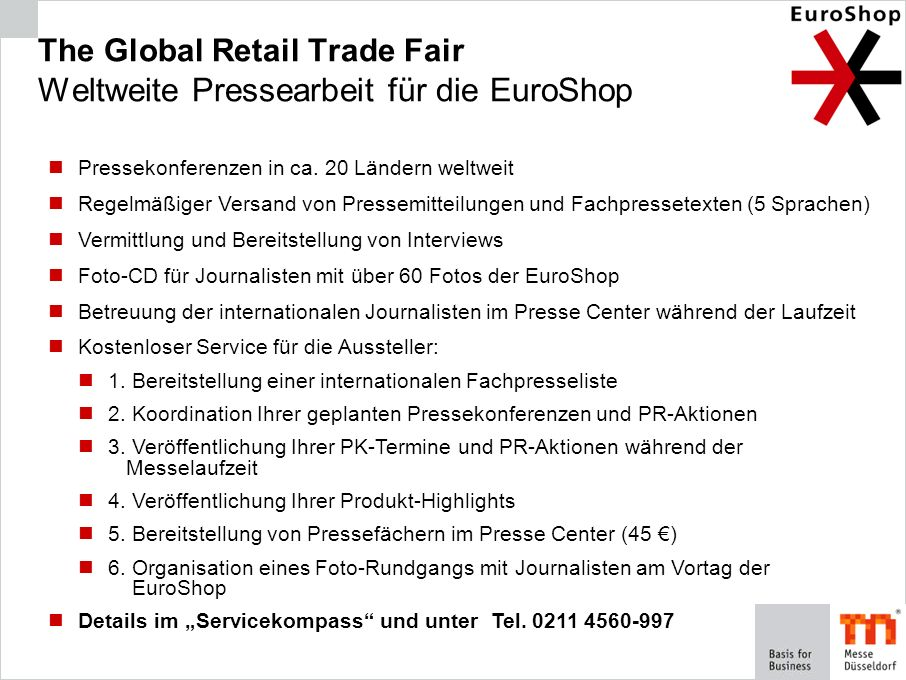 The Global Retail Trade Fair Weltweite Pressearbeit für die EuroShop
