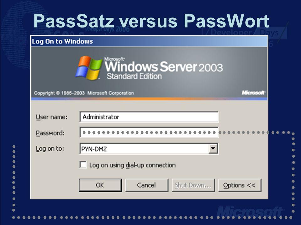 PassSatz versus PassWort