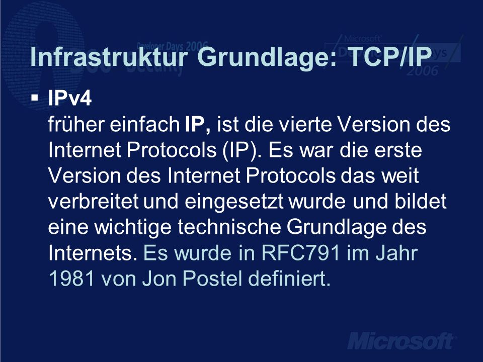 Infrastruktur Grundlage: TCP/IP