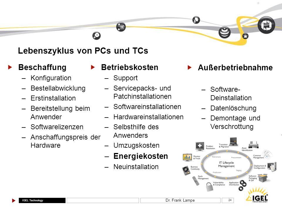 Lebenszyklus von PCs und TCs