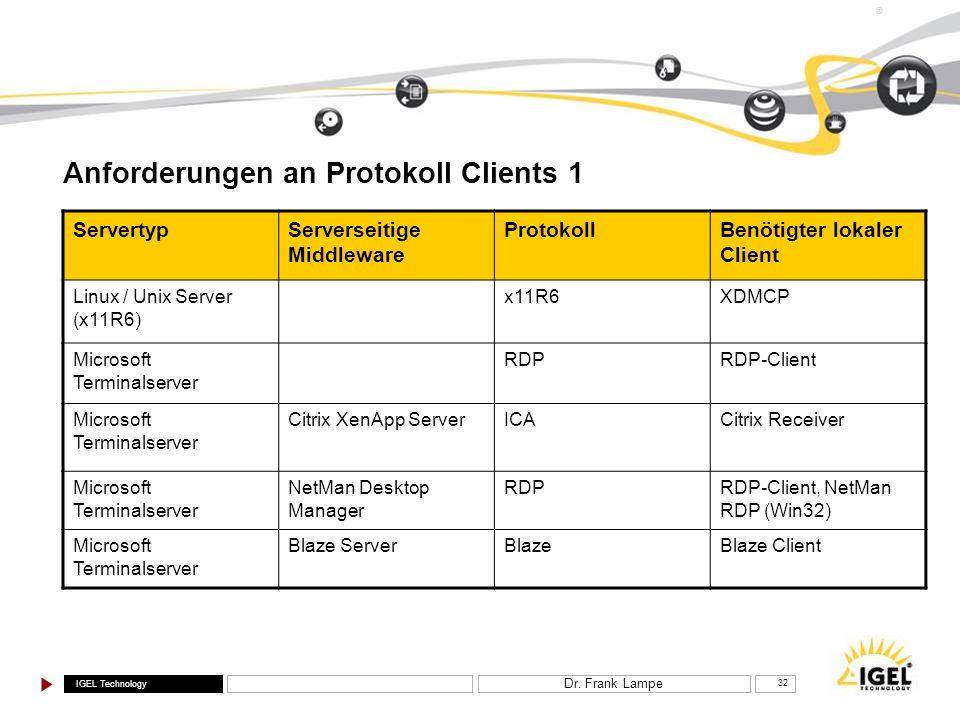 Anforderungen an Protokoll Clients 1