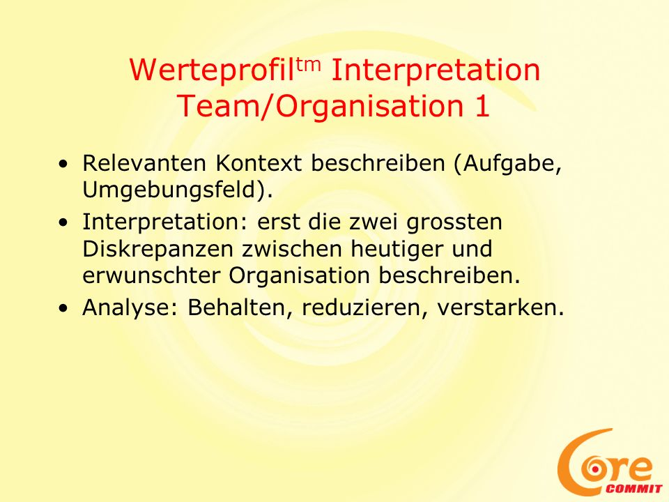 Werteprofiltm Interpretation Team/Organisation 1