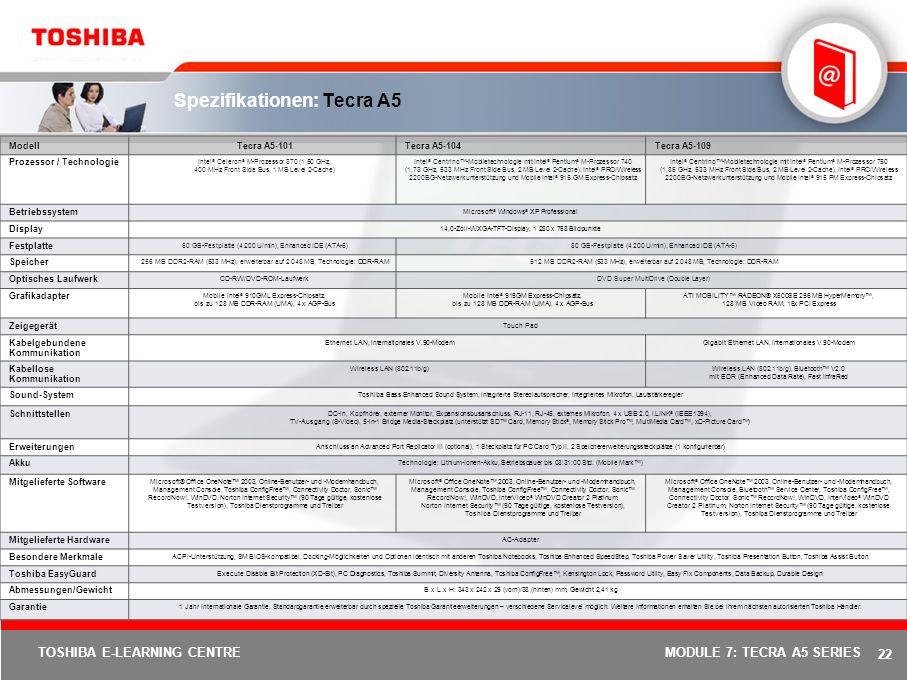 Spezifikationen: Tecra A5