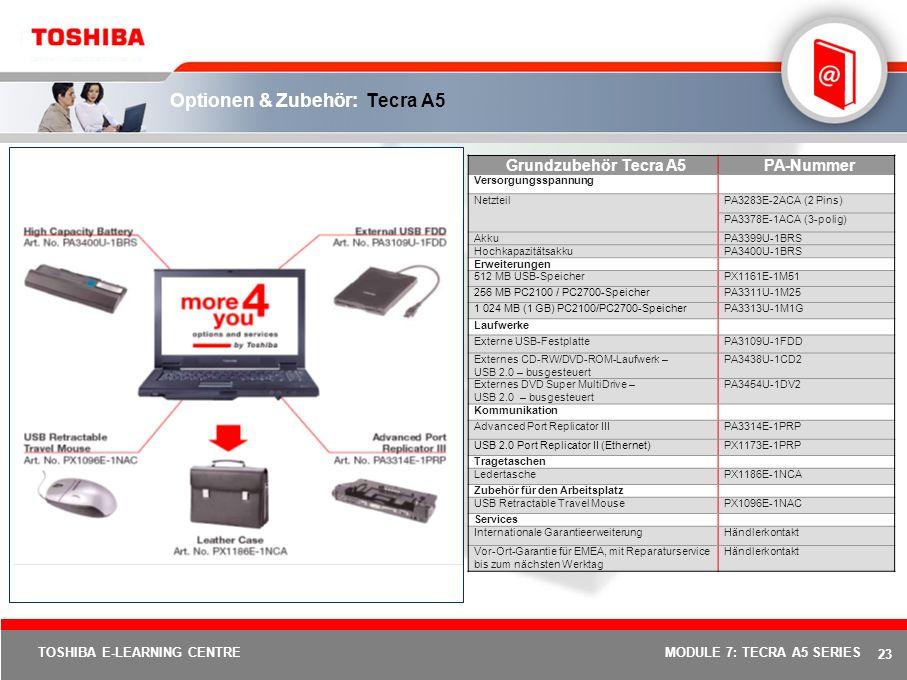 Optionen & Zubehör: Tecra A5
