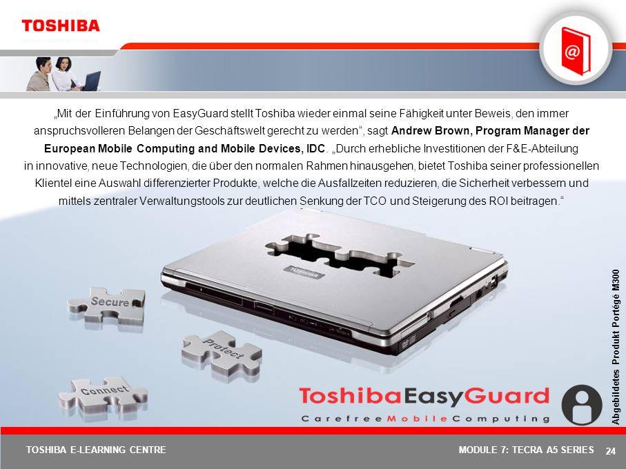 """""""Mit der Einführung von EasyGuard stellt Toshiba wieder einmal seine Fähigkeit unter Beweis, den immer anspruchsvolleren Belangen der Geschäftswelt gerecht zu werden , sagt Andrew Brown, Program Manager der European Mobile Computing and Mobile Devices, IDC. """"Durch erhebliche Investitionen der F&E-Abteilung in innovative, neue Technologien, die über den normalen Rahmen hinausgehen, bietet Toshiba seiner professionellen Klientel eine Auswahl differenzierter Produkte, welche die Ausfallzeiten reduzieren, die Sicherheit verbessern und mittels zentraler Verwaltungstools zur deutlichen Senkung der TCO und Steigerung des ROI beitragen."""