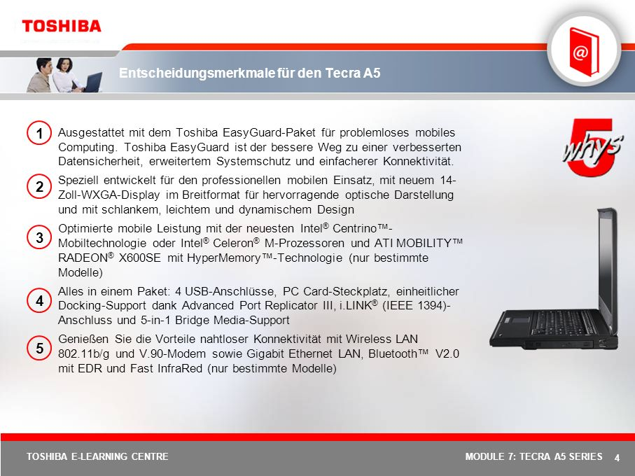 Entscheidungsmerkmale für den Tecra A5