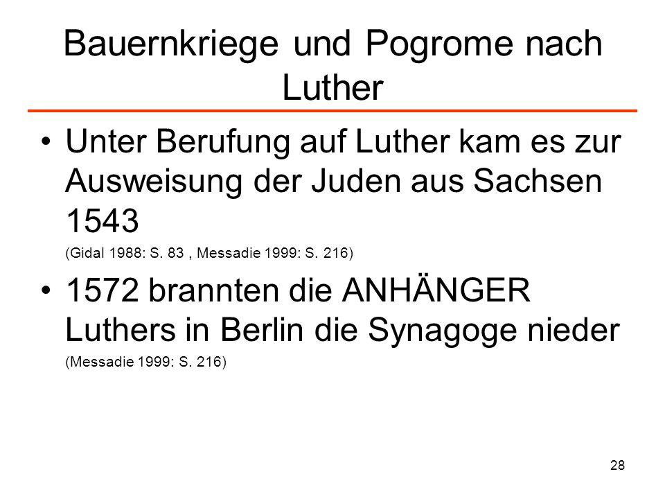 Bauernkriege und Pogrome nach Luther