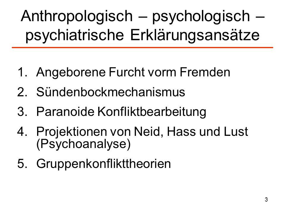 Anthropologisch – psychologisch –psychiatrische Erklärungsansätze