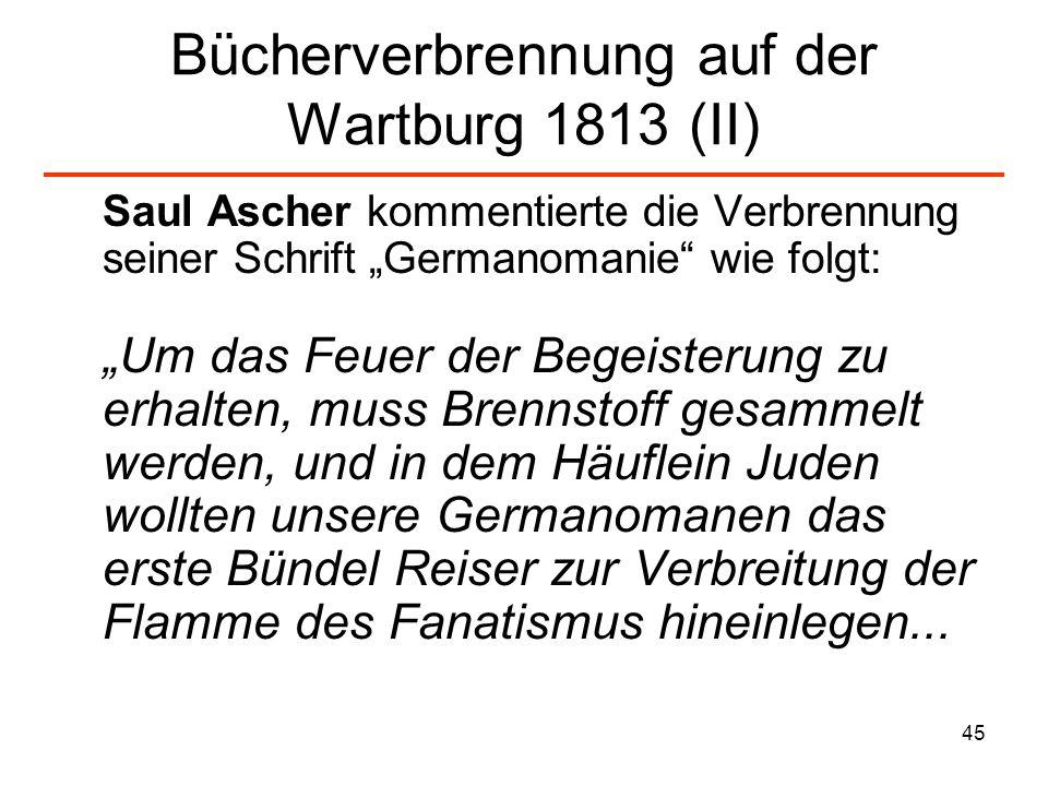 Bücherverbrennung auf der Wartburg 1813 (II)