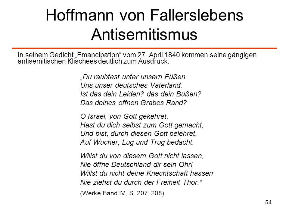 Hoffmann von Fallerslebens Antisemitismus