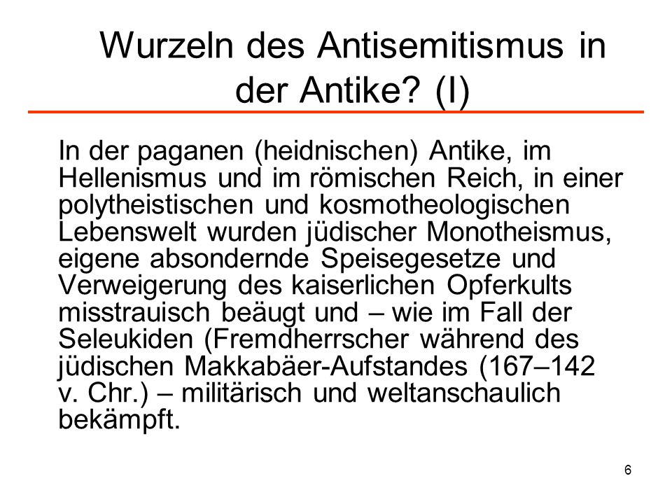 Wurzeln des Antisemitismus in der Antike (I)