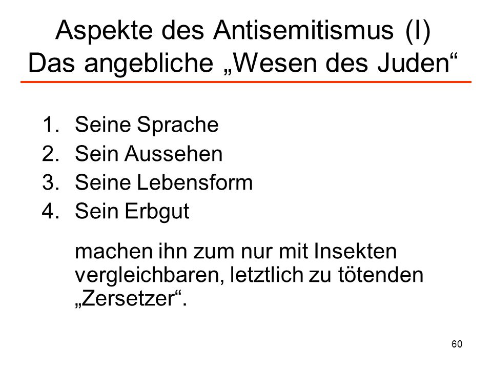 """Aspekte des Antisemitismus (I) Das angebliche """"Wesen des Juden"""