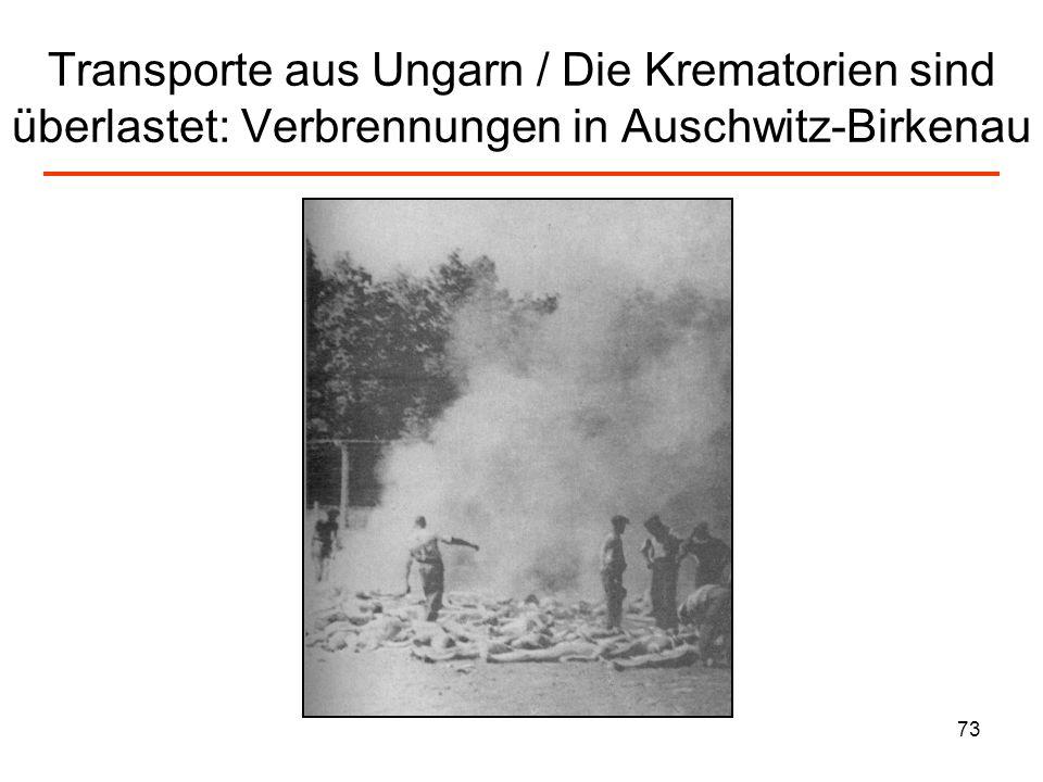 Transporte aus Ungarn / Die Krematorien sind überlastet: Verbrennungen in Auschwitz-Birkenau