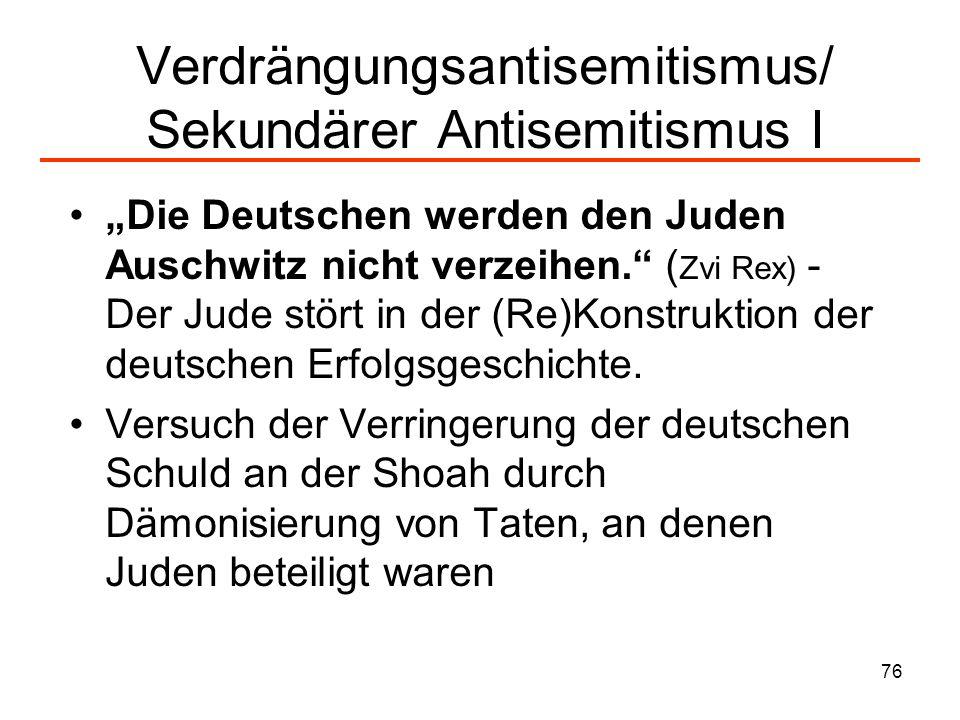 Verdrängungsantisemitismus/ Sekundärer Antisemitismus I