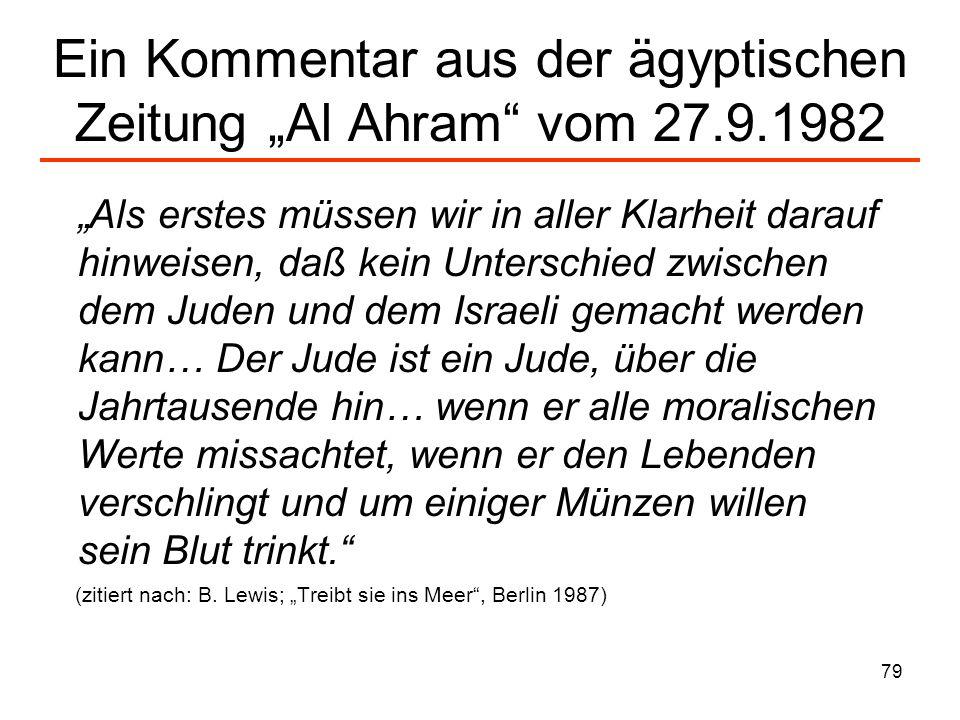 """Ein Kommentar aus der ägyptischen Zeitung """"Al Ahram vom 27.9.1982"""