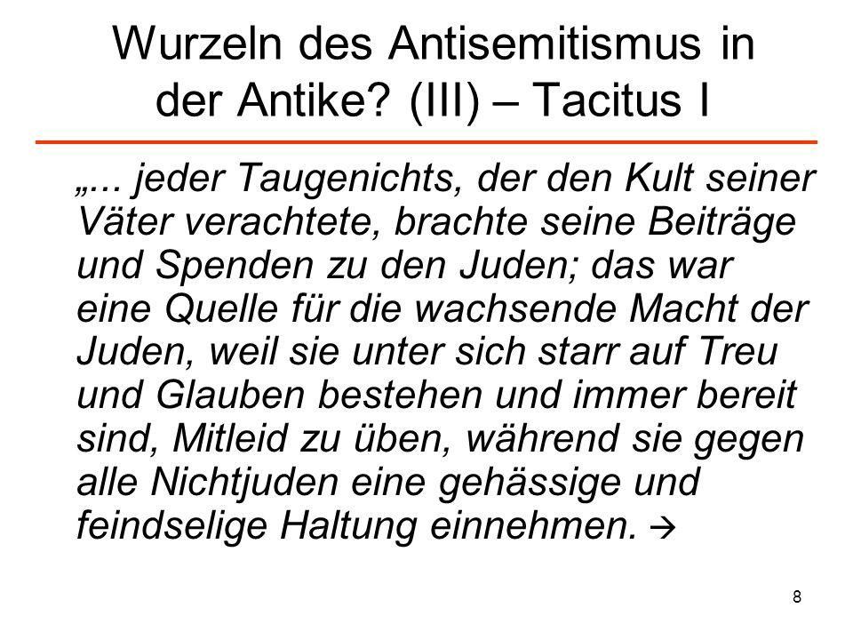 Wurzeln des Antisemitismus in der Antike (III) – Tacitus I