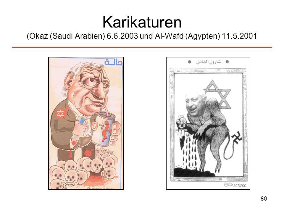 Karikaturen (Okaz (Saudi Arabien) 6. 6. 2003 und Al-Wafd (Ägypten) 11