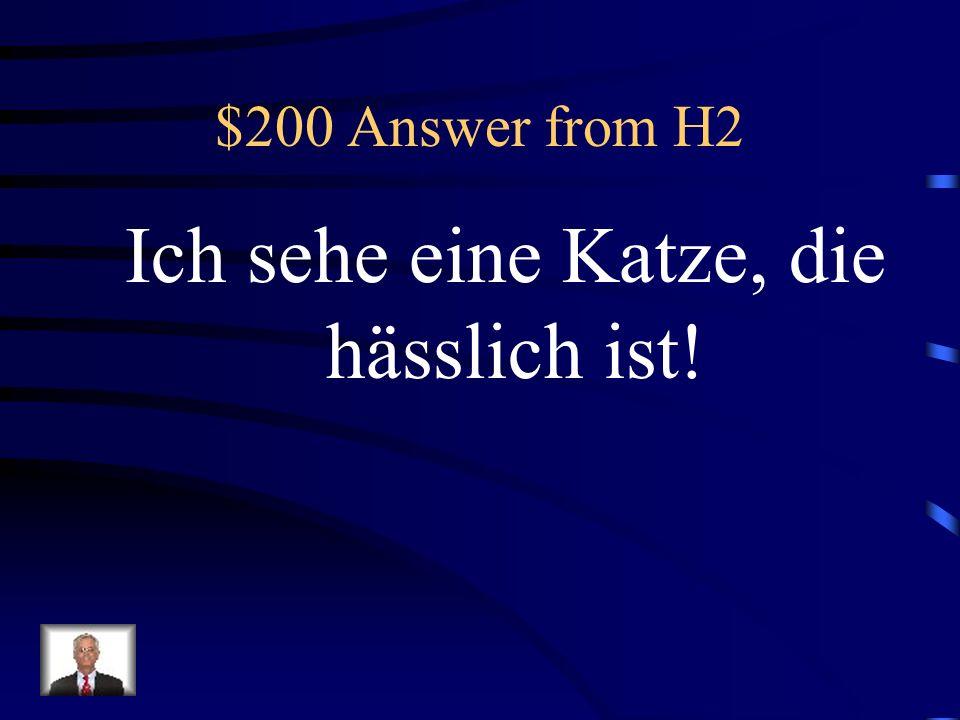 $200 Answer from H2 Ich sehe eine Katze, die hässlich ist!