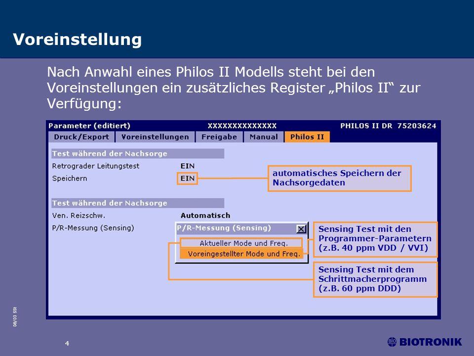 """Voreinstellung Nach Anwahl eines Philos II Modells steht bei den Voreinstellungen ein zusätzliches Register """"Philos II zur Verfügung:"""