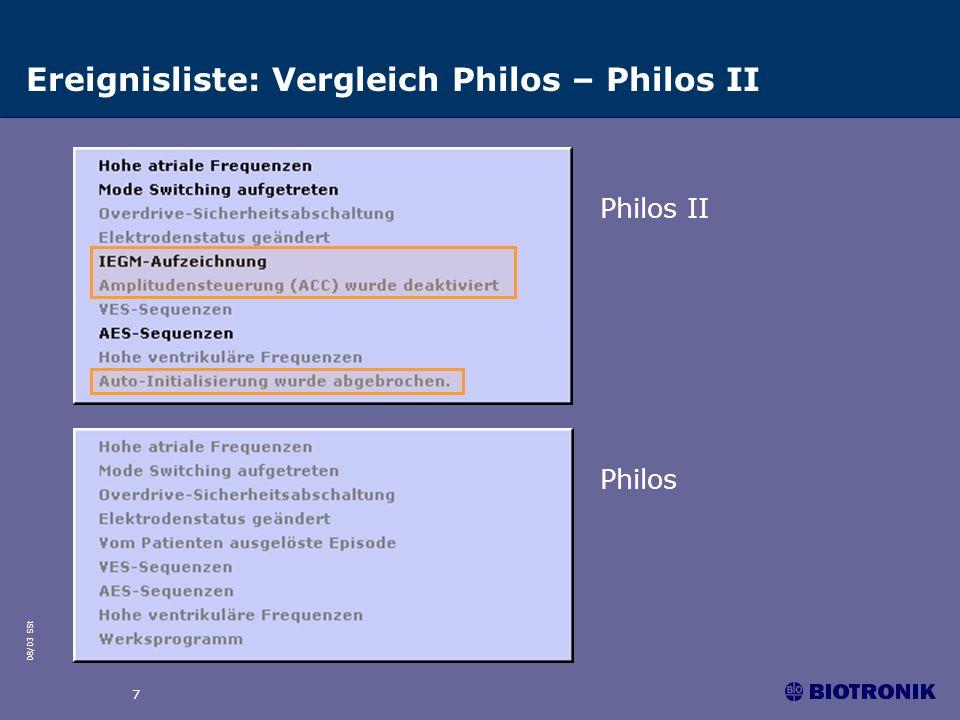 Ereignisliste: Vergleich Philos – Philos II