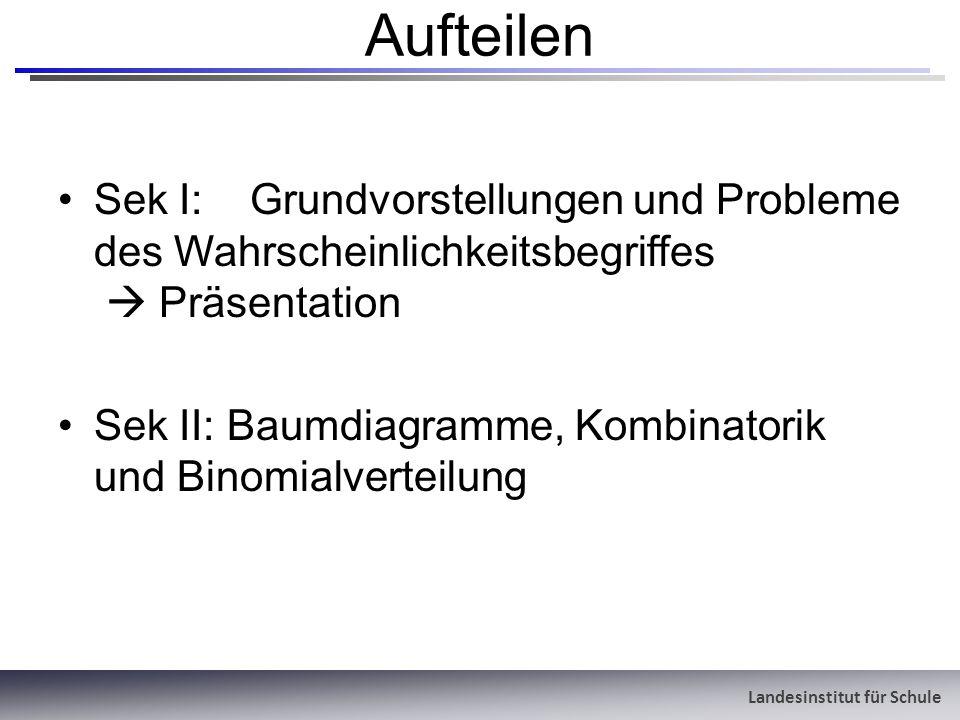 Aufteilen Sek I: Grundvorstellungen und Probleme des Wahrscheinlichkeitsbegriffes  Präsentation.