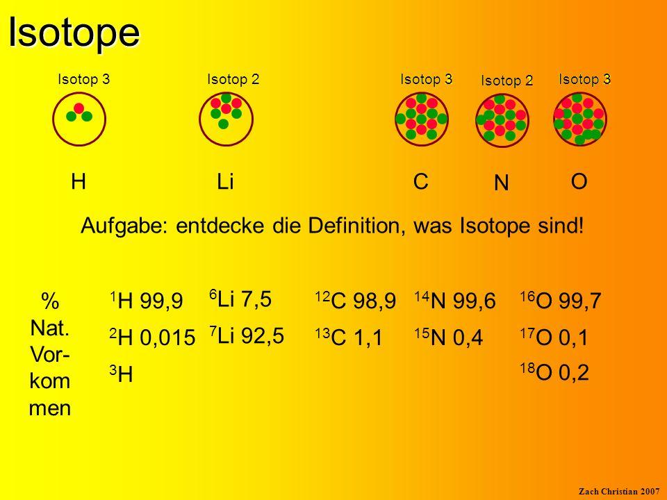 Aufgabe: entdecke die Definition, was Isotope sind!