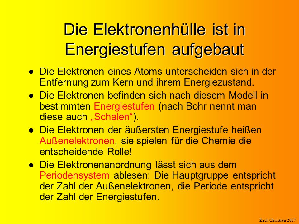 Die Elektronenhülle ist in Energiestufen aufgebaut